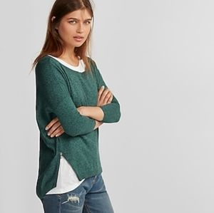 Express side zip high low sweater
